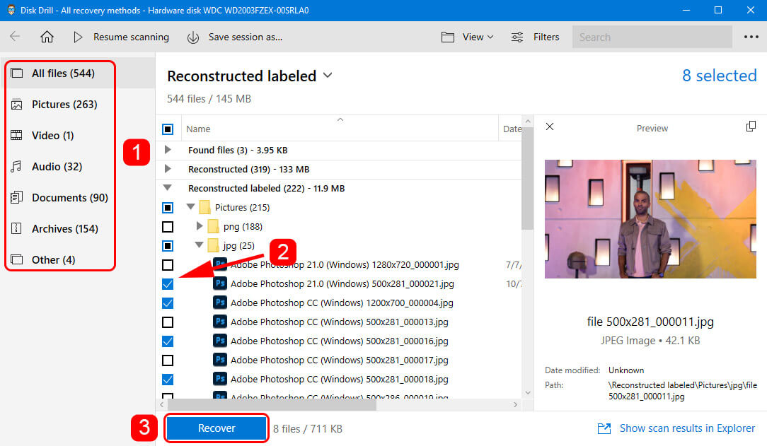 Select Your Files and Recover Them